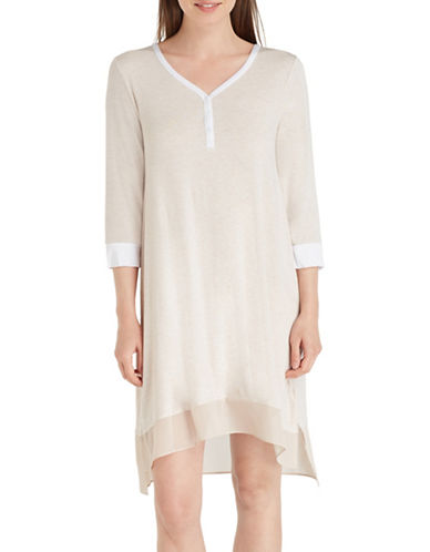 Dkny Jersey Sleep Shirt-BEIGE-Small