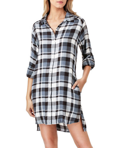 Dkny Flannel Sleep Shirt-BLUE PLAID-Large