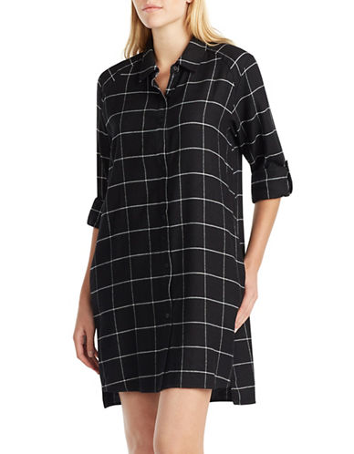 Dkny Flannel Sleep Shirt-BLACK-X-Large