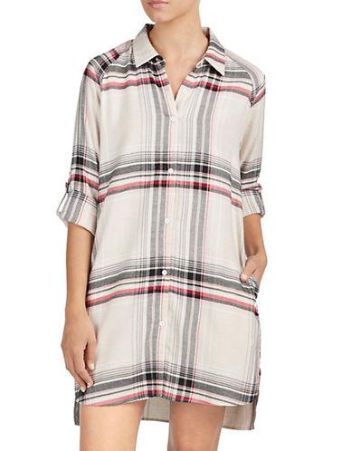 Dkny Flannel Sleep Shirt-BEIGE-X-Large