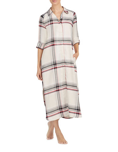Dkny Flannel Maxi Sleep Shirt-BEIGE-Small