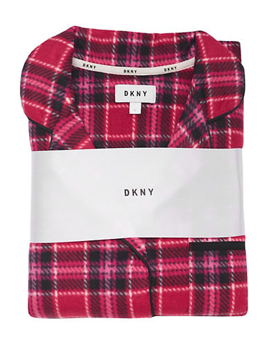Dkny Printed Fleece Pyjama Set-PINK-Large