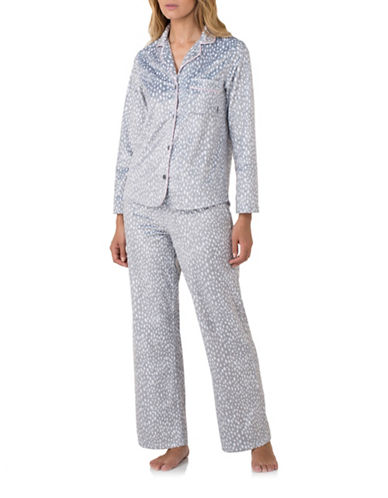 Dkny Printed Fleece Pyjama Set-SILVER-Small