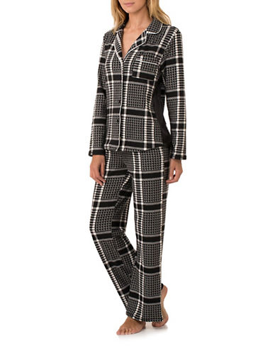 Dkny Printed Fleece Pyjama Set-BLACK-Medium