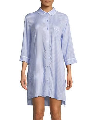 Dkny Hi-lo Striped Sleepshirt-BLUE-Large
