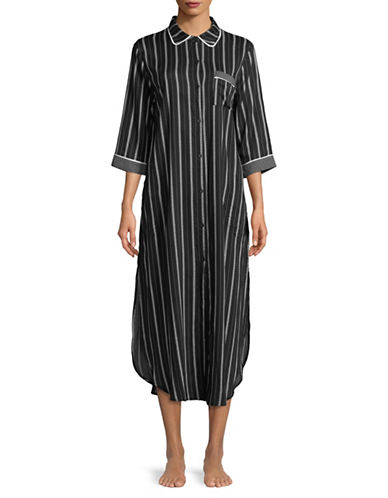 Dkny Striped Maxi Sleepshirt-BLACK STRIPE-X-Large