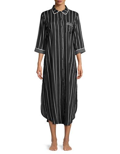 Dkny Striped Maxi Sleepshirt-BLACK STRIPE-Large