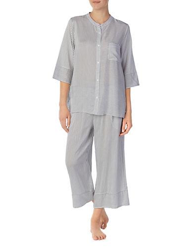 Donna Karan Two-Piece Stripe Buttoned Pajama Set 90072250