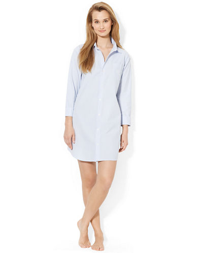 Lauren Ralph Lauren Sleep Shirt-BLUE-Small