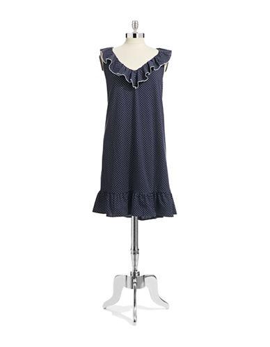 Lauren Ralph Lauren Sleeveless Ruffled Chemise-NAVY-Medium 87065100_NAVY_Medium