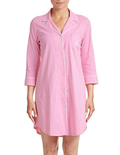 Lauren Ralph Lauren Dotted Notch Collar Sleepshirt-PINK-X-Large