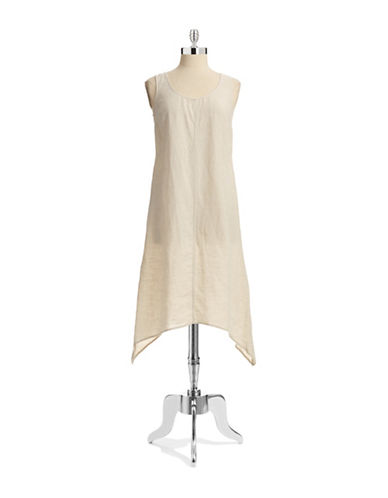 Jones New York Sport Sharkbite Linen Dress-NATURAL-Medium