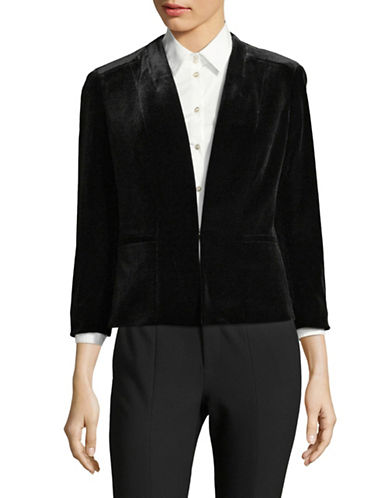 Kasper Suits Velvet Single-Button Blazer-BLACK-8