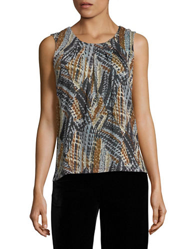 Kasper Suits Abstract Printed Top-MULTI-Small