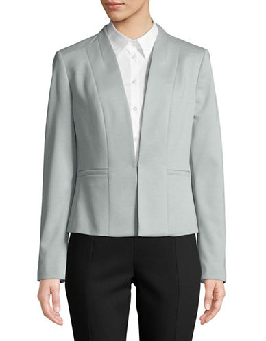 Kasper Suits Collarless Ponte Jacket-BLUE-14
