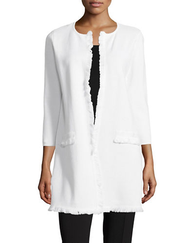 Kasper Suits Fringed Long Cardigan-WHITE-X-Large