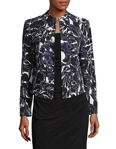 Kasper Suits Abstract Print Fly-Away Jacket-MULTI-16