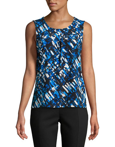 Kasper Suits Pleated Neck Camisole-BLUE-Small