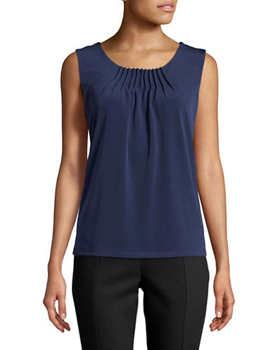 Kasper Suits Pintuck Sleeveless Top-INDIGO-Medium