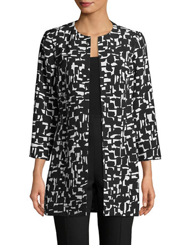 Kasper Suits Abstract Printed Topper-BLACK-12