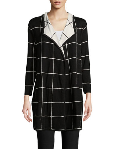 Kasper Suits Windowpane Open-Front Cardigan-BLACK-Small