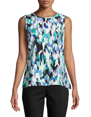 Kasper Suits Printed Sleeveless Top-BLUE-Medium 89944687_BLUE_Medium