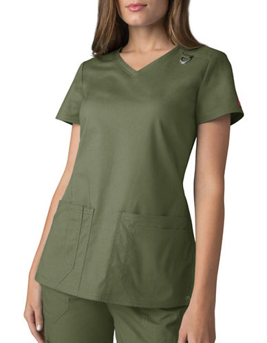 Dickies Antimicrobial Four-Pocket V-Neck Top-OLIVE-X-Small