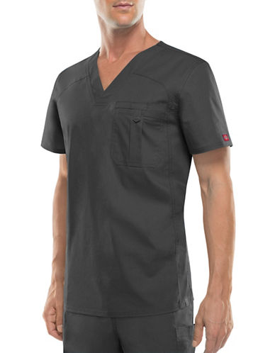 Dickies Antimicrobial One-Pocket V-Neck Top-PEWTER-XX-Large