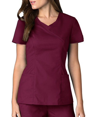 Dickies Antimicrobial Mock Wrap Top-WINE-Medium