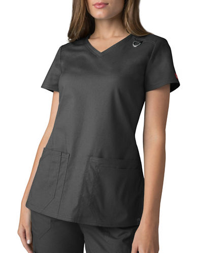 Dickies Antimicrobial Four-Pocket V-Neck Top-PEWTER-Large