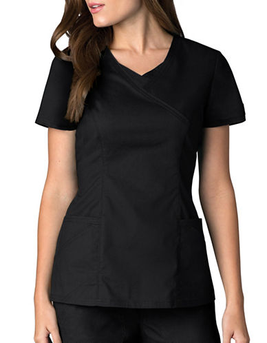 Dickies Antimicrobial Mock Wrap Top-BLACK-X-Large