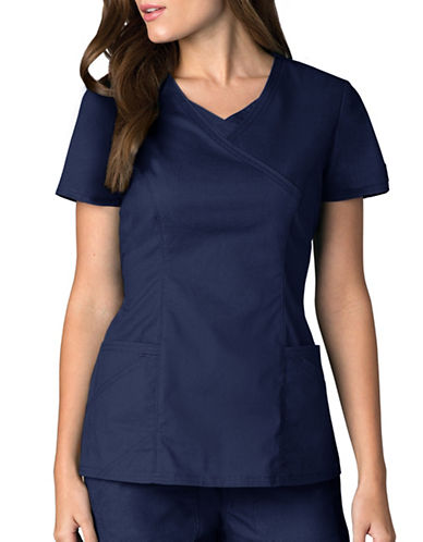 Dickies Antimicrobial Mock Wrap Top-NAVY-Large