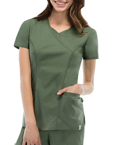 Dickies Antimicrobial Mock Wrap Top-OLIVE-X-Small