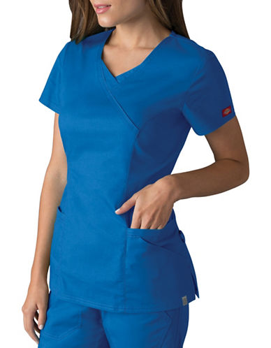Dickies Antimicrobial Mock Wrap Top-ROYAL-X-Small