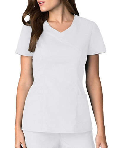 Dickies Antimicrobial Mock Wrap Top-WHITE-XX-Small