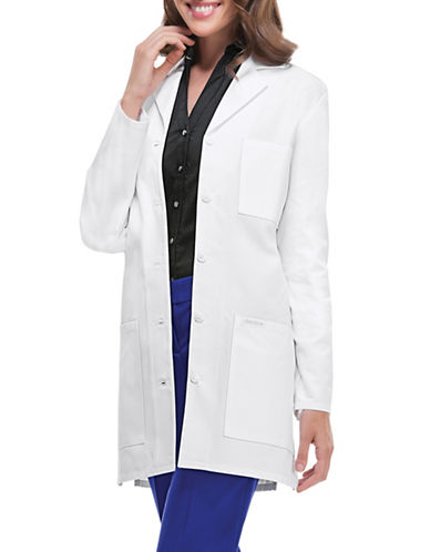 Cherokee Antimicrobial 32-Inch Button-Front Lab Coat-WHITE-Small