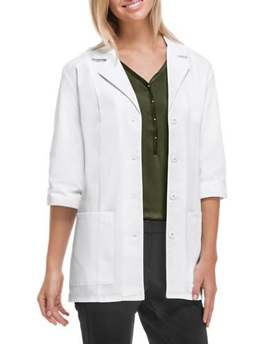 Cherokee Antimicrobial with Fluid Barrier 30-Inch Three-Quarter Sleeve Lab Coat-WHITE-X-Small