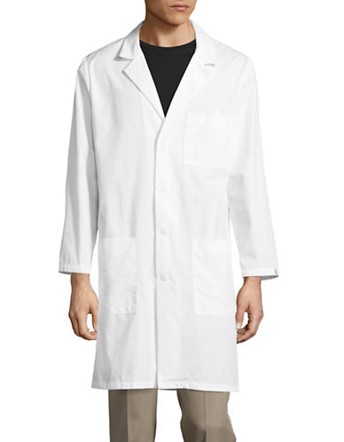 Cherokee Antimicrobial 40-Inch Unisex Lab Coat-WHITE-X-Small