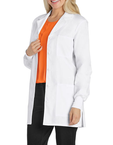 Cherokee Antimicrobial with Fluid Barrier 32-Inch Solid Lab Coat-WHITE-X-Small