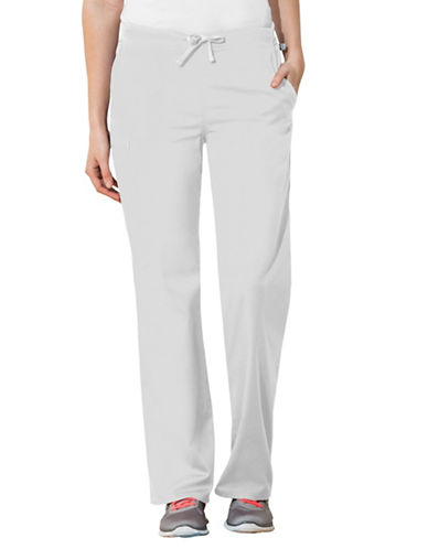 Cherokee Natural-Rise Drawstring Pants-WHITE-Large
