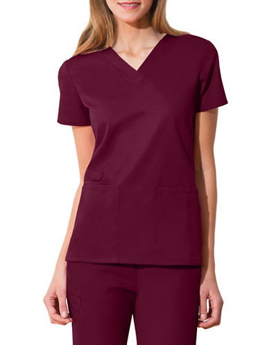 Cherokee V-Neck Top-WINE RED-X-Small