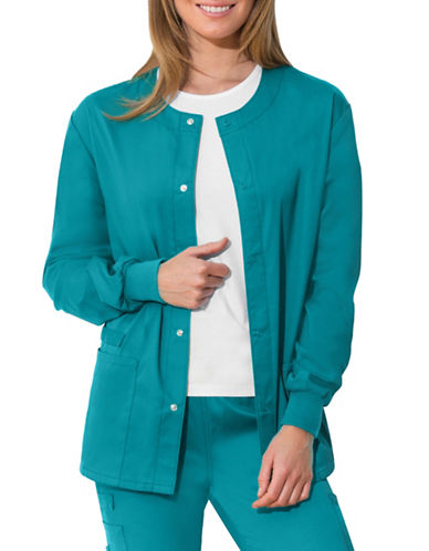 Cherokee Antimicrobial Unisex Snap Front Warm-Up Jacket-TEAL-X-Large