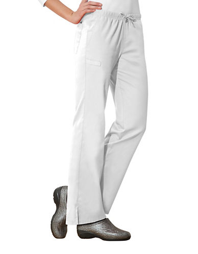 Cherokee Moderate Flare Drawstring Pants-WHITE-Large