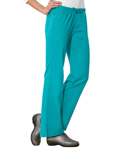 Cherokee Moderate Flare Drawstring Pants-TEAL BLUE-Large