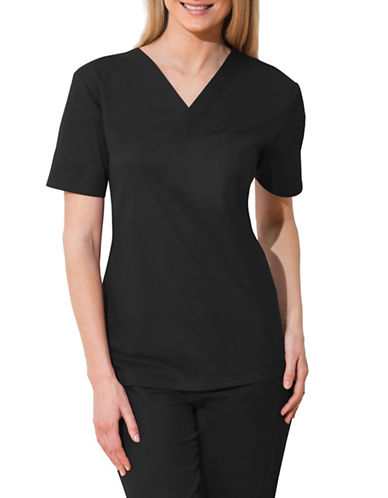Cherokee Unisex V-Neck Top-BLACK-Small