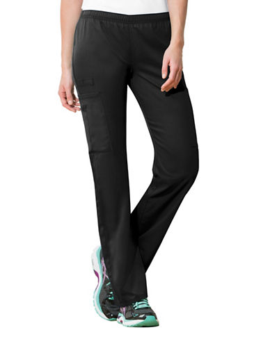 Cherokee Mid-Rise Straight Leg Pants-BLACK-Small
