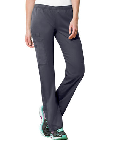 Cherokee Mid-Rise Straight Leg Pants-GREY-X-Large