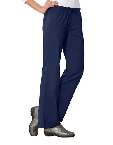 Cherokee Moderate Flare Drawstring Pants-NAVY BLUE-Medium