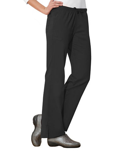 Cherokee Moderate Flare Drawstring Pants-BLACK-X-Large