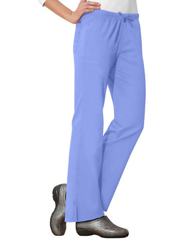 Cherokee Moderate Flare Drawstring Pants-CIEL BLUE-Large